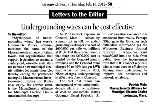 Greenwich Post letter to Editor